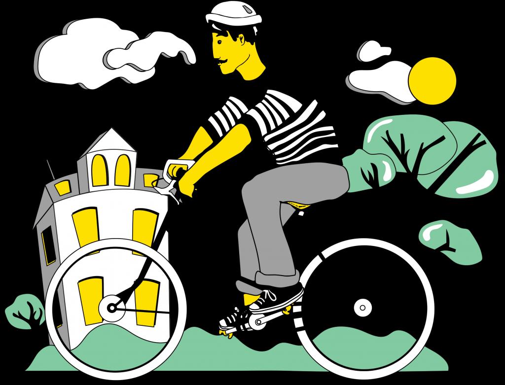 illustration-cycliste-qui-fait-du-velo-en-ville